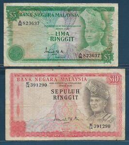 Malaysia 5 10 Ringgit Lot, 1976, P 14a 15, VF- see description