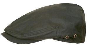 Stetson Sun Guard Flatcap Hat Cap Adin Waxed Cotton 5 Green New Trend