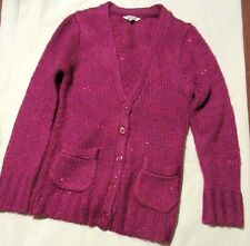 """MISS EVIE puce cosy sequinned knitted CARDIGAN 10-11 yrs -chest 29""""- excellent"""