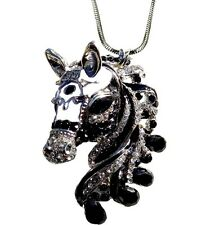 """Slivertone Gorgeous Horse Pendant Necklace 24"""" Chain Fast Shipping"""