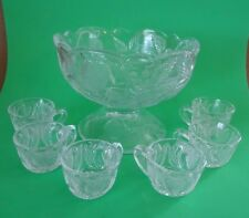 VINTAGE MOSSER STRAWBERRY GLASS MINIATURE DOLL CHILD'S PUNCH BOWL W/ 6 CUPS SET