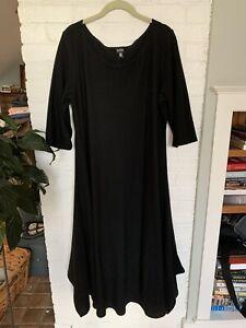 Eileen Fisher Black Boucle Wool Eliptical Hem Dress