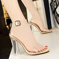 Women Clear Crystal High Heel Sandals Straps Open Peep toe Buckle Pumps Shoes uk
