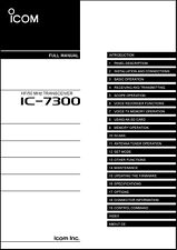 Icom IC-7300 Transceiver Full Instruction Manual - Owner's Guide