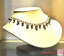 Dark Grey Freshwater Pearl necklace earrings  Swarvoski elements Bridal Wedding