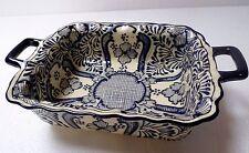 Mexican Talavera Pottery Ceramic Kitchen Square Serving Dish Casserole Blue 12x8