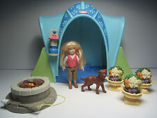 Camping Tent Girl & Dog - Flower Pots - Fisher Price Loving Family Dollhouse