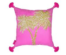 LILLY PULITZER PALMS Gold Large Indoor Outdoor Pillow 18 X 18 LG  Home Decor NEW