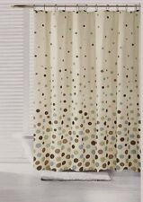 70 in x 72 in Space Canvas Fabric Shower Curtain Polka Dot Teal Blue Brown Olive