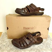 Born Womens 8 39 Verena Sandals Brown Leather Adjustible Straps Closed Toe
