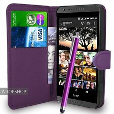 Purple Wallet Case PU Leather Book Cover For  HTC DESIRE 620 620G Mobile