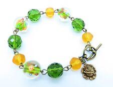 Vintage Ochre Bead Green Czech Crystal Lampwork Glass Brass Rose Charm Bracelet