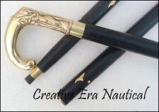 Antique Style Victorian Vintage Designer Brass Handle Cane Wooden Walking Stick