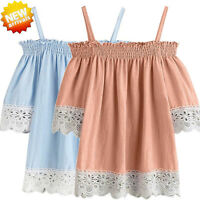 Fashion Womens Summer Off Shoulder Short Sleeve Lace Casual Top Blouse T Shirt