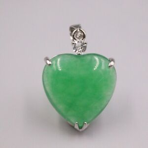 GP Heating Jade Pendant For Women Female Bless Green Heart Lucky Charms Gift