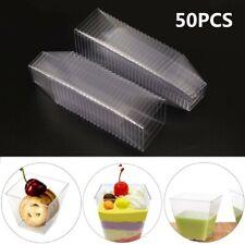 More details for 50pcs square plastic dessert cups mini cubes 2oz/60ml strong cup party decor uk