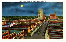 Main Street at Night Greenville South Carolina Linen Postcard