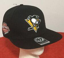 "New! PITTSBURGH PENGUINS NHL '47 BRAND ""CAPTAIN"" BLACK Snapback HAT Baseball CAP"