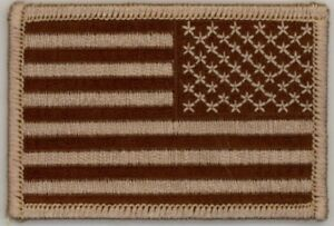 "25 Pcs Reverse Tan USA American Flag Embroidered Patches 3""x2"" iron-on"