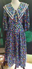 80s Vintage EBER San Francisco Floral Mid Calf Lace Cotton Medium USA Elastic
