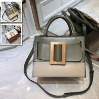 Real Leather 2 Tone Oversize Metal Buckle & Belt Mini Tote Bag Crossbody Handles