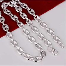 df4751b85f8 Chaine collier maille grain de café plaqué argent mixte homme femme 50 cm  8mm