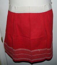 Vintage Mid Century Red White Cotton Blend Stitched Apron