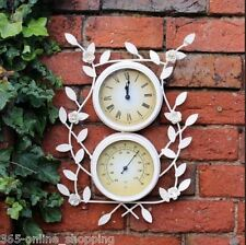 Vintage white metal garden wall clock & thermometer With flowers Indoor Outdoor