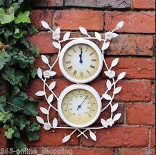 VINTAGE bianco Orologio da parete da giardino in metallo & Termometro con fiori indoor outdoor