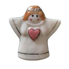 NOS Ceramic Porcelain Angel Friendship Cream Gold Pink Heart vintage Brooch Pin