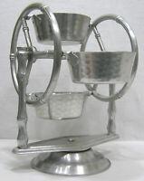 Vintage Mid Century Everlast Hammered Aluminum Ferris Wheel Snack Set Bamboo