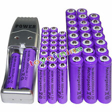 24 AA 3000mAh+ 24AAA 1800mAh 1.2V NI-MH purple Rechargeable Battery +USB Charger