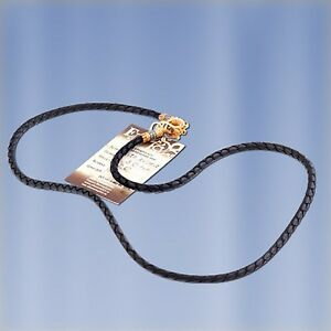 Genuine Leather Cord Necklace twist, silver 925 clasp gold plated, Unisex, NWT
