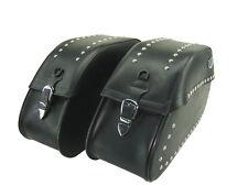 Set Borse Laterali Pelle Ledrie Borchie Moto Custom