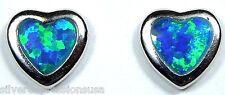 Cute 6mm Heart  Blue Fire Opal Inlay 925 Sterling silver stud post earrings