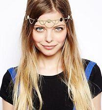 Women Bohemian party Gold color Chain Tassel Forehead Metallic Hair Head bands