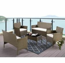 Wade Logan Gerardi 4 Pieces Rattan Sofa Set, Golden Brown garden furniture