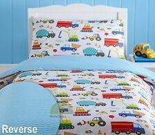 Kidz Club Bright Trucks Junior Duvet Cover And Pillowcase Set