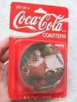 New Coca Cola Coke Santa Plastic Christmas Coasters Set of 4 Four Inch Good Boys
