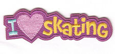"""I LOVE (HEART) SKATING"" - Iron On Embroidered Patch - Skates, Sports, Words"