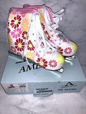 New listing D6 Girls American Double Runner Ice Skate,Flower Power,11Y