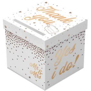 LARGE WHITE & ROSE GOLD WEDDING GIFT ENVELOPE POSTING BOX