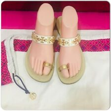 TORY BURCH White Gold Toe Ring Leather Flat Sandal, Size 8M