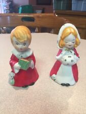 Collectible Porcelain Christmas Bells Choir Boy and Girl w/Muff Figurines. Cute