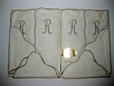 """New listing Vintage 8 Pc. Luncheon Set 4 Napkins & 4 12X18 Mats Pure Linen Embroidered """"R"""""""