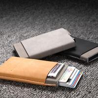 Men Minimalist Wallet Pop Up Credit Card & ID Holder Slim Money Clip LEATHER