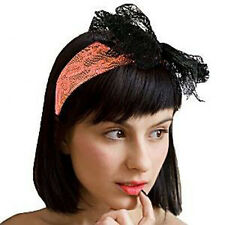 80s Style Neon Lace Alice Band ORANGE - Retro Fancy Dress