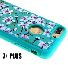 For iPhone 7+ Plus - HYBRID HARD&SOFT DIAMOND BLING CASE COVER MINT BLUE BLOSSOM