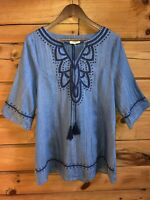 Umgee Tunic Top Sz S Light Denim Blue Tassel Tie Shift Dress Boho