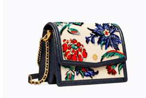 AUTH NWT $478 Tory Burch Robinson Floral Fil Coupe Convertible Shoulder Bag